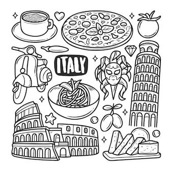 Colorazione di scarabocchio disegnato a mano delle icone dell'italia