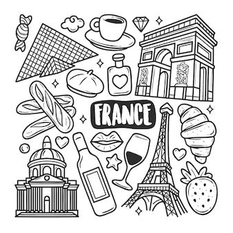 Colorazione di scarabocchio disegnato a mano delle icone della francia