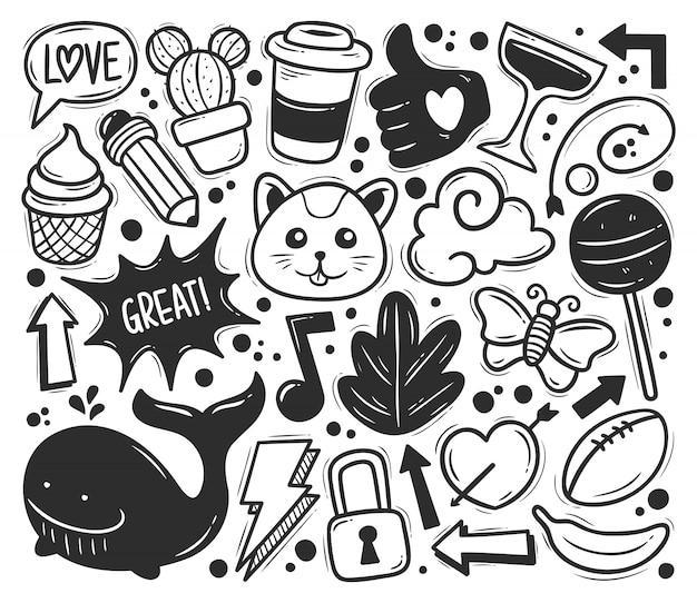 Colorazione disegnata a mano di scarabocchio delle icone astratte dello scarabocchio