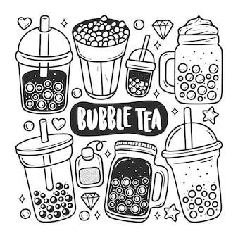 Colorazione disegnata a mano di scarabocchio delle icone del tè della bolla