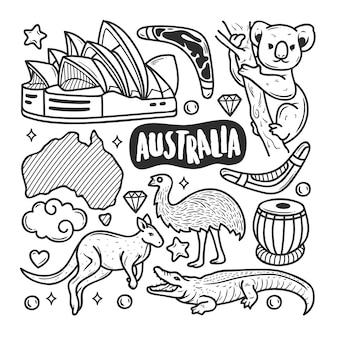 Colorazione disegnata a mano di scarabocchio delle icone dell'australia