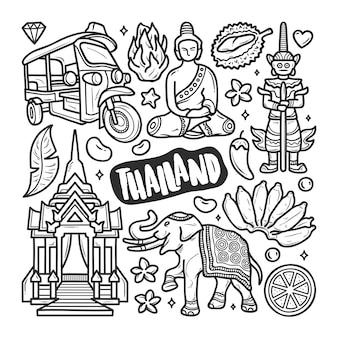 Colorazione disegnata a mano di scarabocchio delle icone della tailandia