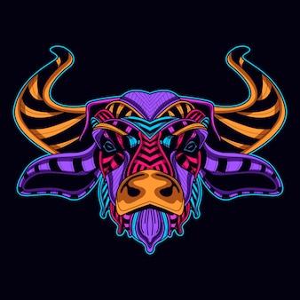 Colore al neon incandescente del toro