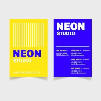 Colore al neon per il concetto di biglietto da visita