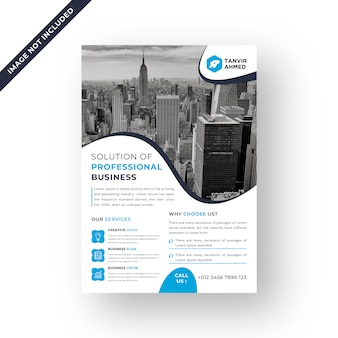 Colore blu corporate flyer design modello vettoriale