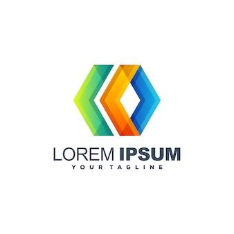 Colore completo astratto logo design vettoriale