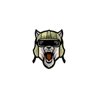 Colore completo del logo di stile della testa di cane dell'esercito