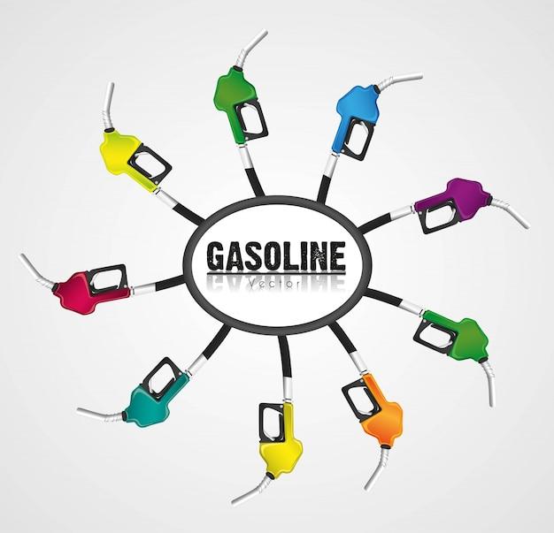 Colore degli erogatori di benzina isolato su bianco