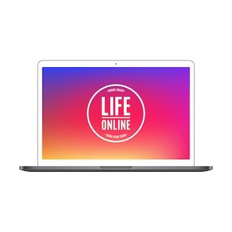 Colore del computer portatile con lo schermo colorato isolato su fondo bianco.