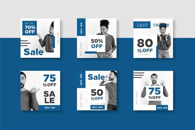 Colore del modello di post di vendita di social media pantone dell'anno 2020