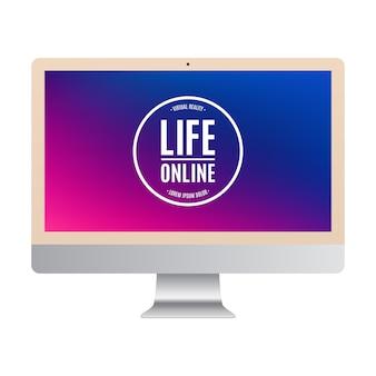 Colore dell'oro del computer con lo schermo colorato isolato su fondo bianco.