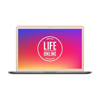 Colore dell'oro del computer portatile con lo schermo colorato isolato su fondo bianco.