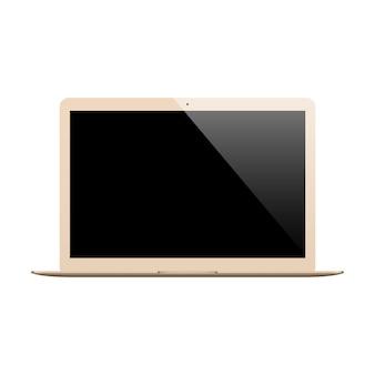 Colore dell'oro del computer portatile con lo schermo in bianco isolato su fondo bianco.