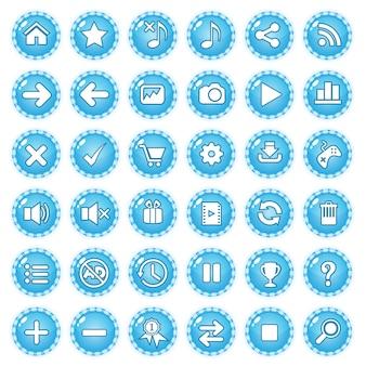 Colore della caramella della linea di confine del gioco del gui dei bottoni blu.