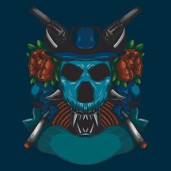 Colore dettagliato illustrazione di un teschio testa di cacciatore con un ornamento rosa rossa e una pistola