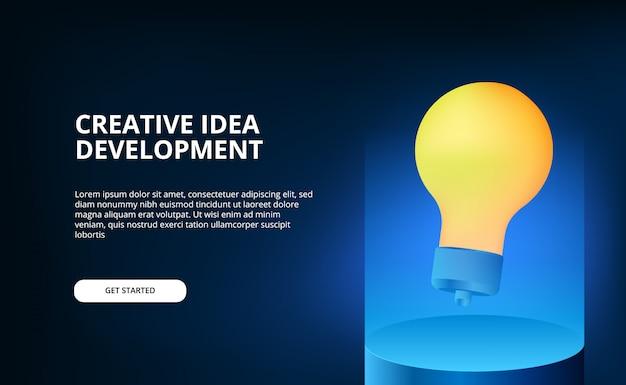 Colore di illuminazione blu moderno con illustrazione di lampada gialla 3d galleggiante per idea creativa e brainstorming.