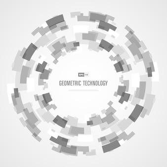Colore grigio e bianco astratto del cerchio del quadrato di tecnologia di fondo futuristico