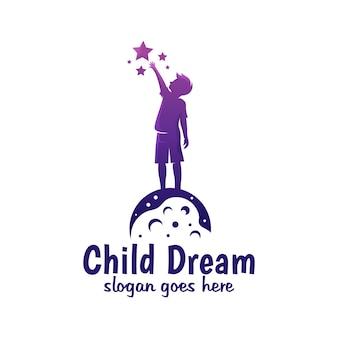 Colore moderno sogno del bambino, raggiungere la stella, raggiungere il design del logo del sogno