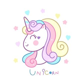 Colore pastello di vettore sveglio della testa dell'unicorno