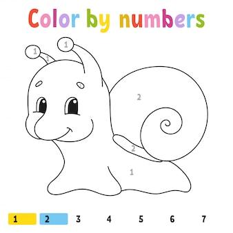 Colore per numeri. libro da colorare per bambini. carattere allegro. illustrazione vettoriale