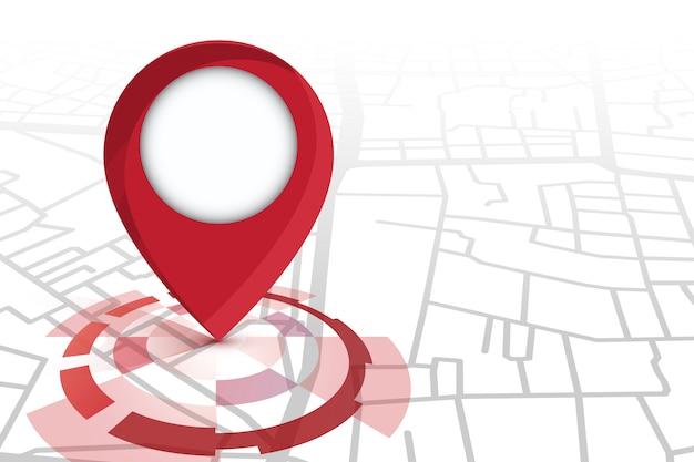 Colore rosso dell'icona del localizzatore che mostra sulla mappa stradale