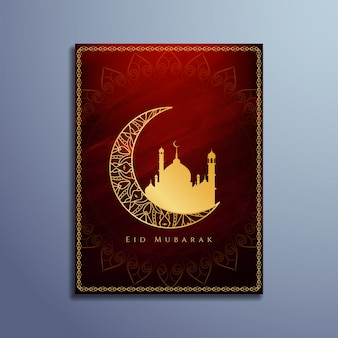 Colore rosso religioso eid mubarak carta di progettazione