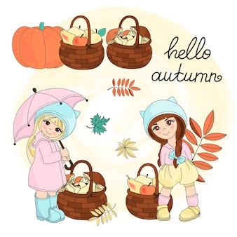 Colore stabilito dell'illustrazione di vettore di clipart di autunno ciao autunno