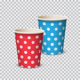 Colore tazza di carta con pois per bevande