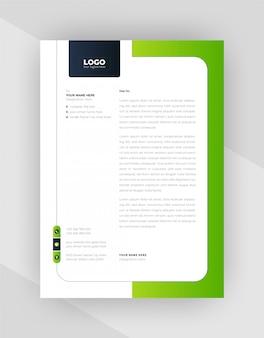 Colore verde e nero design creativo del modello di carta intestata.