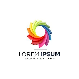Colore vettoriale astratto logo design completo