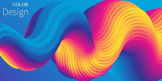 Colore vibrante. onda liquida. flusso del fluido. .