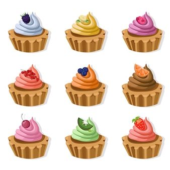 Colorful cupcakes collection