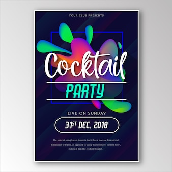 Colorful energytic abstract memphis party poster