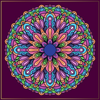 Colorful indian mandala art con motivi floreali arrotondati