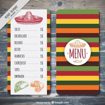 Colorful modello di menu messicano