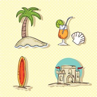 Colorful summer icons (set di raccolta)