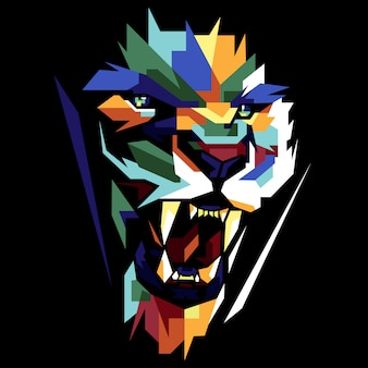 Colorfully lion face