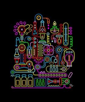 Colori al neon del laboratorio di ricerca