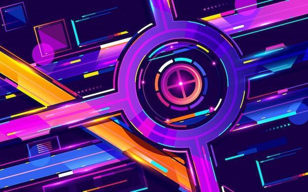 Colori al neon dell'autostrada senza pedaggio di notte della metropoli, vettore del fumetto di vista superiore
