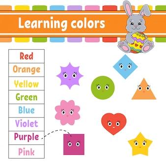 Colori di apprendimento. foglio di lavoro per lo sviluppo dell'istruzione. coniglio pasquale. pagina delle attività con immagini.