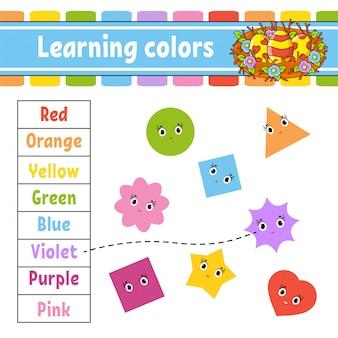 Colori di apprendimento. foglio di lavoro per lo sviluppo dell'istruzione. nido di pasqua. pagina delle attività con immagini.