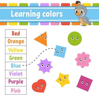 Colori di apprendimento. foglio di lavoro per lo sviluppo dell'istruzione. pagina delle attività con immagini.