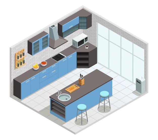 Colori il concetto isometrico dell'interno della cucina con l'illustrazione di vettore della tavola e della sedia dell'armadietto