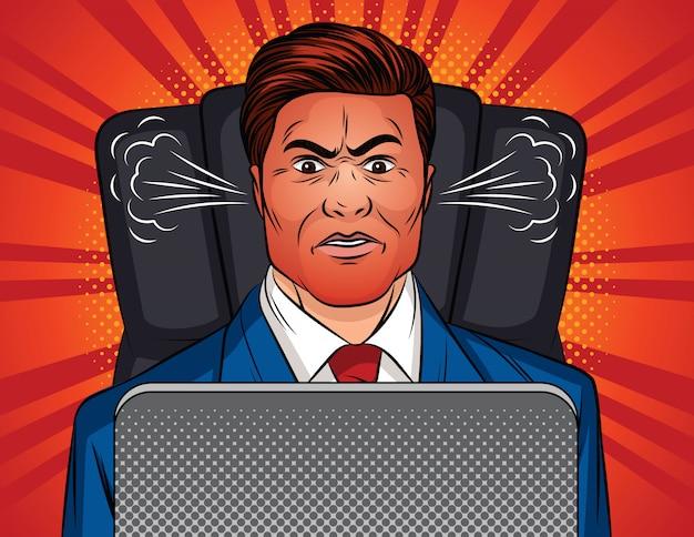Colori l'illustrazione di stile di pop art di vettore di un uomo arrabbiato che si siede in una sedia dell'ufficio ad una tavola. il capo è seduto davanti a un computer portatile. un uomo in giacca e cravatta con un viso arrossato e un vapore dalle orecchie