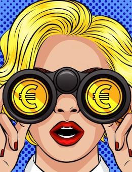Colori l'illustrazione di stile di pop art di vettore di una donna che osserva tramite il binocolo. il simbolo dell'euro si riflette nelle lenti del binocolo. primo piano del volto femminile con il binocolo nelle loro mani. la ragazza vede i soldi