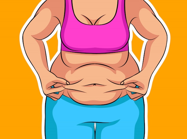 Colori l'illustrazione di vettore di una ragazza prima di perdita di peso. pancia grassa poster sulla dieta e lo stile di vita non salutari. figura femminile obesa