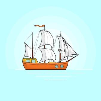 Colori la nave con le vele bianche in mare isolato su fondo bianco. banner in viaggio con barca a vela. arte linea piatta. illustrazione vettoriale concetto per viaggio, turismo, agenzia di viaggi, hotel, carta vacanze.