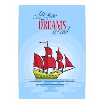 Colori la nave con le vele rosse nel mare su fondo blu. banner itinerante skyline astratto arte linea piatta. illustrazione vettoriale concetto per viaggio, turismo, agenzia di viaggi, hotel, carta vacanze.