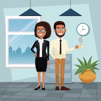 Colori le coppie stabilite dell'ente completo dell'ufficio del posto di lavoro del fondo dei capelli ricci della donna e dei caratteri barbuti dell'uomo per l'illustrazione di vettore di affari
