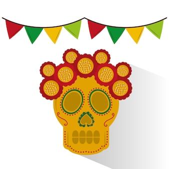 Colori messicani della ghirlanda della decorazione del fiore del cranio